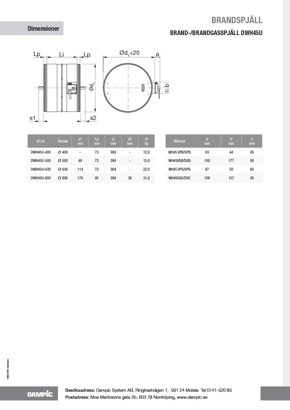 Brand-/brandgasspjäl DWH45U